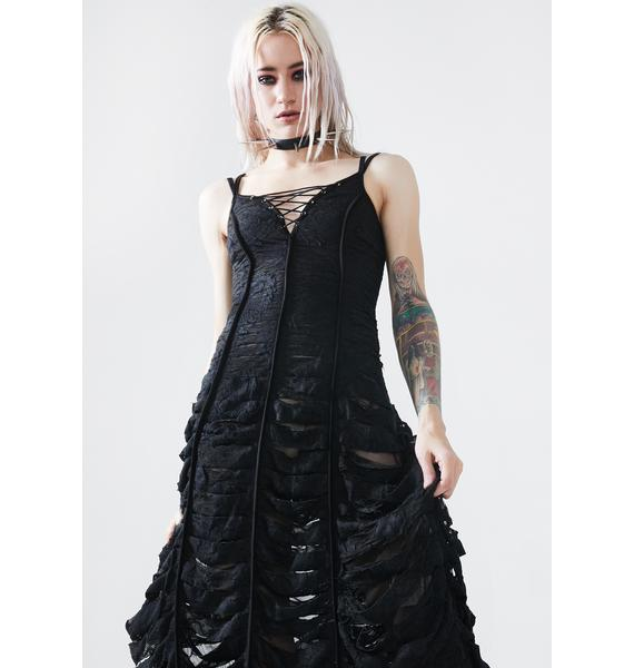 Punk Rave Diablo Distressed Maxi Dress