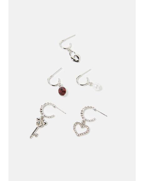 Chrome Bad Girls Club Rhinestone Earring Set