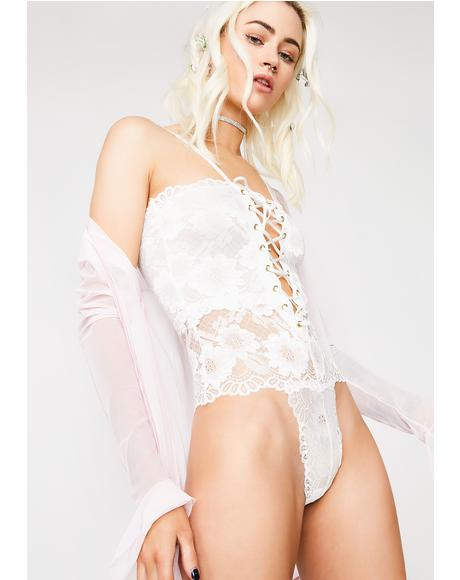 Angelic Cuddle Party Lace-Up Bodysuit