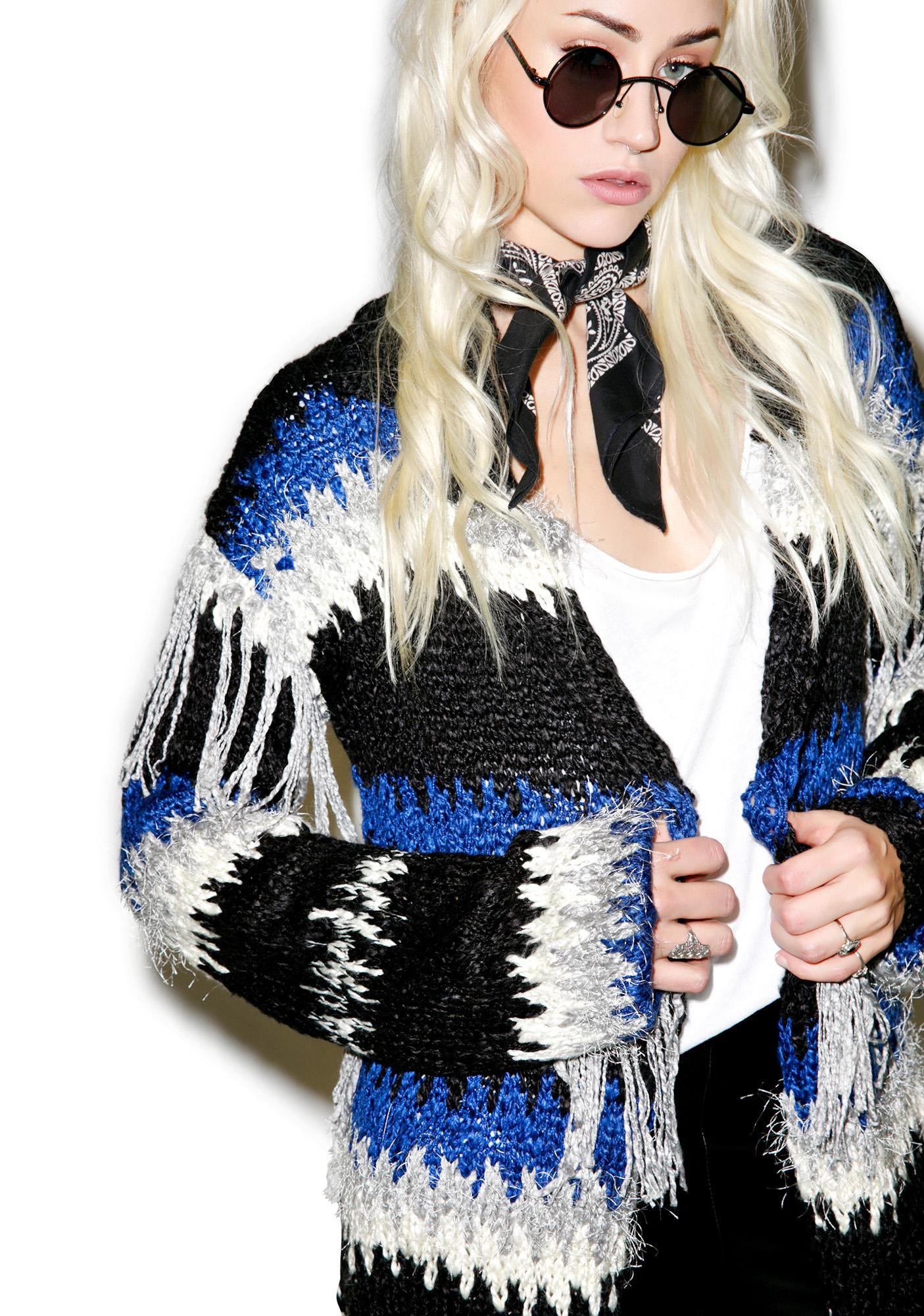 For Love & Lemons Black 'N Blue Crosby Fringe Cardigan