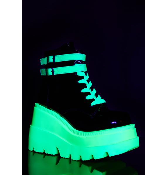 Demonia Green UV Patent Technopagan Boots