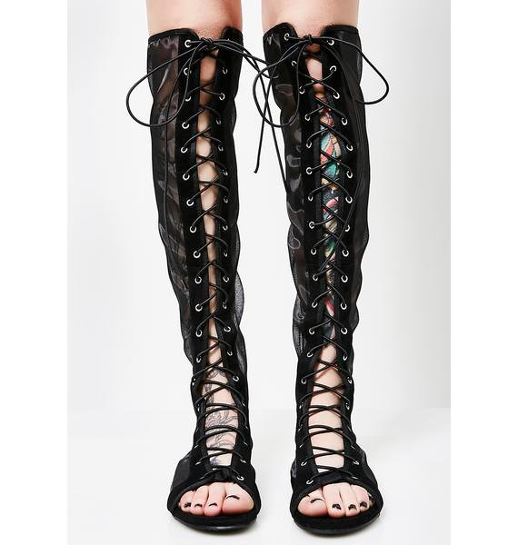 New Roads Lace-Up Mesh Sandals