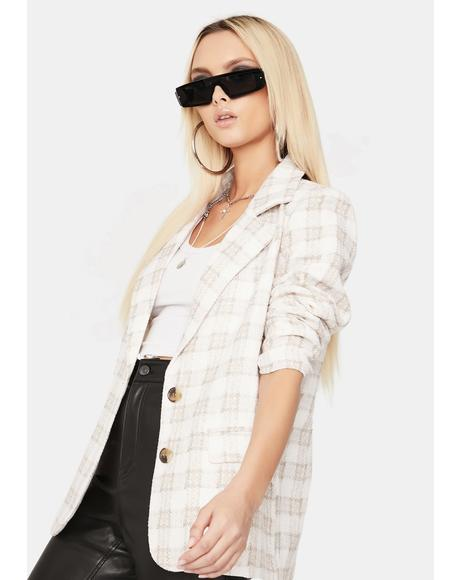 Wealthy And Wise Plaid Oversized Blazer