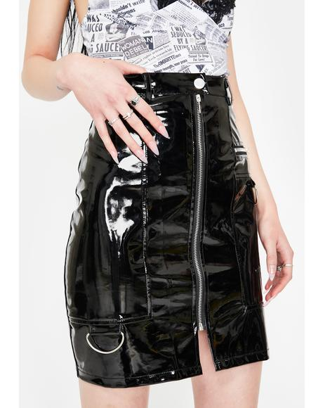 Black Vinyl A-Line Mini Skirt
