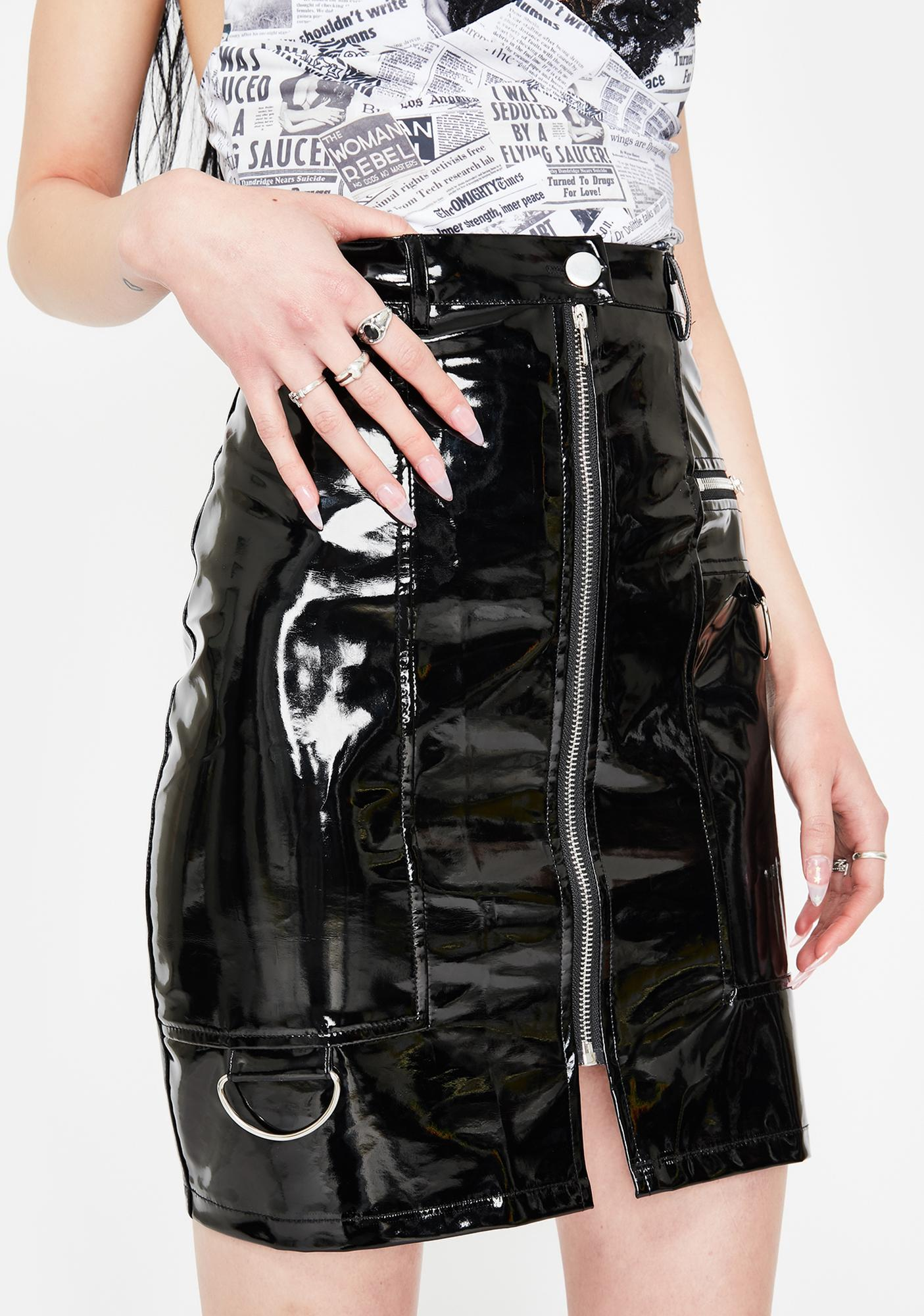 Daisy Street Black Vinyl A-Line Mini Skirt