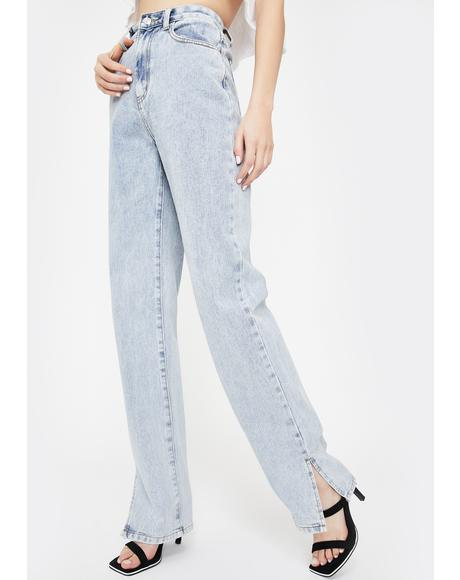 Side Slit Hem Bleach Wash Jeans