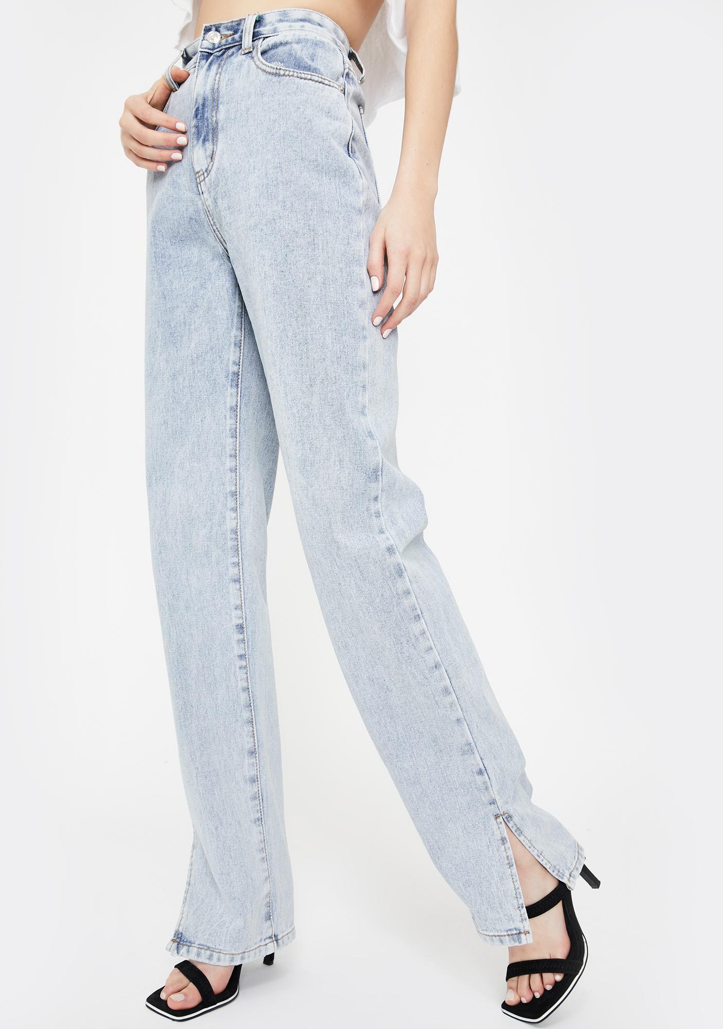 Momokrom Side Slit Hem Bleach Wash Jeans