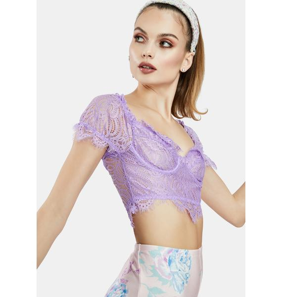 Lilac Sweetie Pie Lace Bustier Crop Top