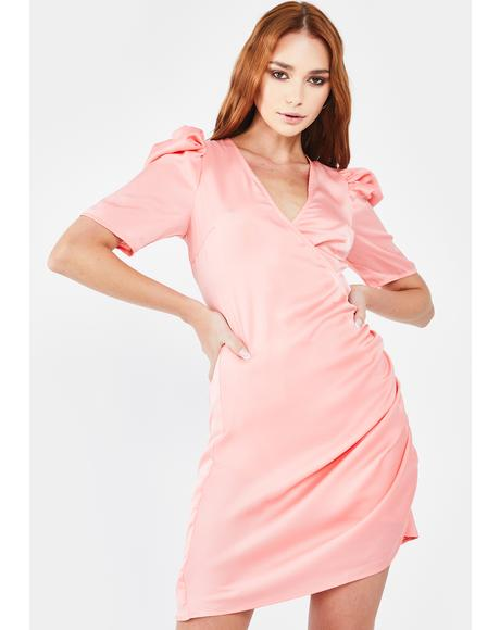 Peach Satin Wrap Dress