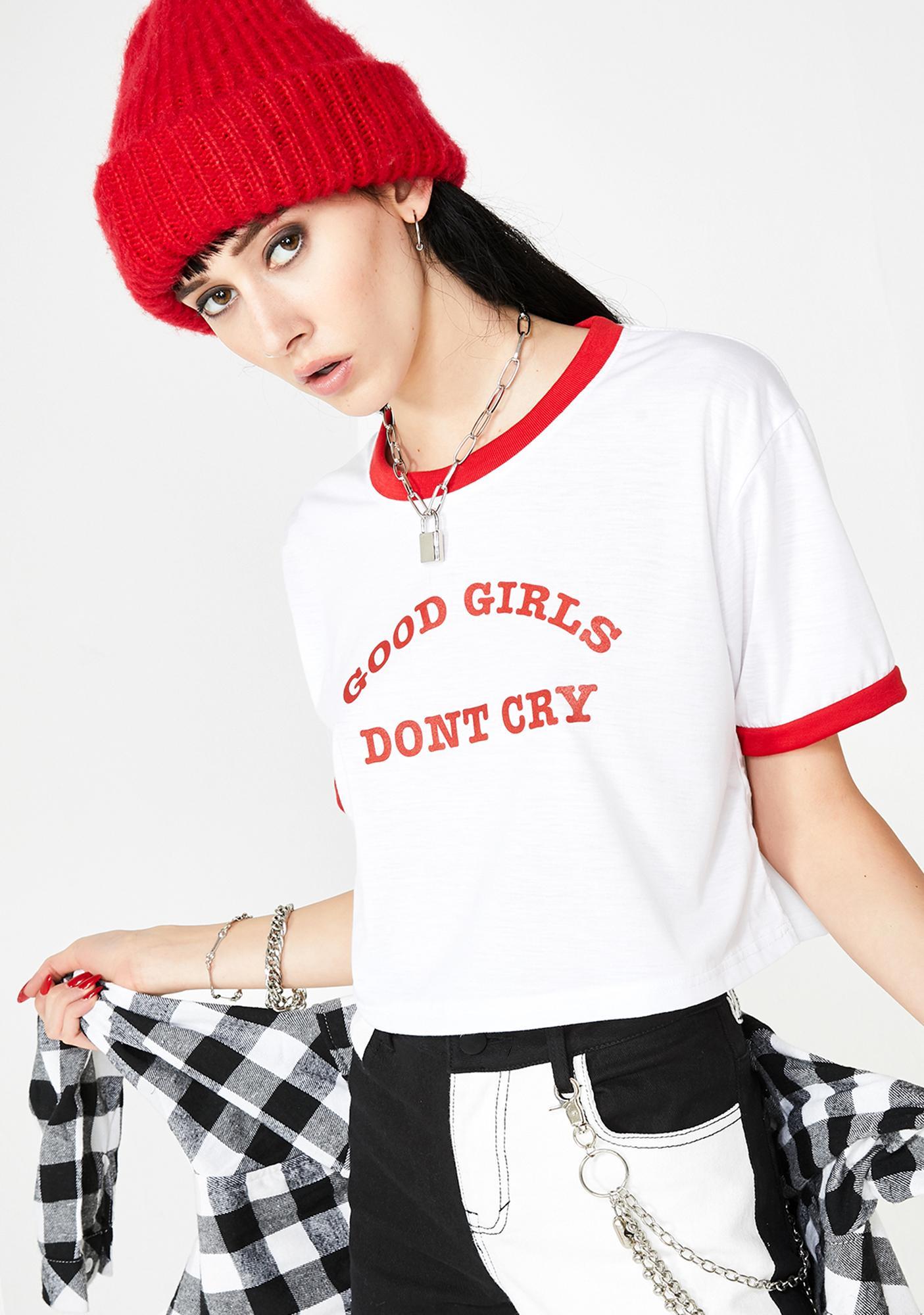 GOODGIRLSONLY Good Girls Don't Cry Crop Tee