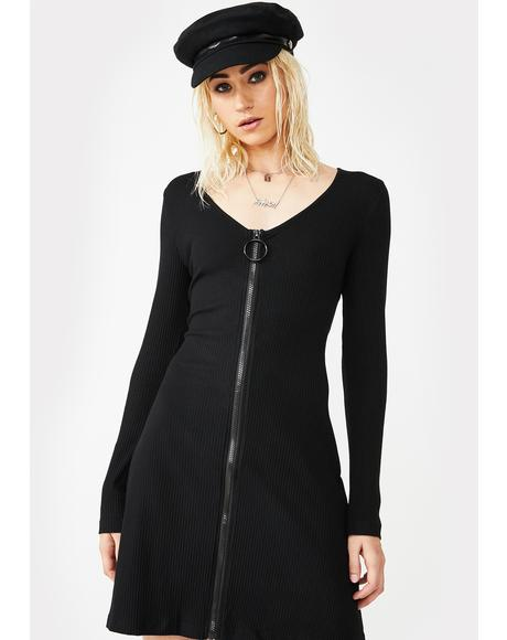 Long Sleeve Zip Bodycon Dress