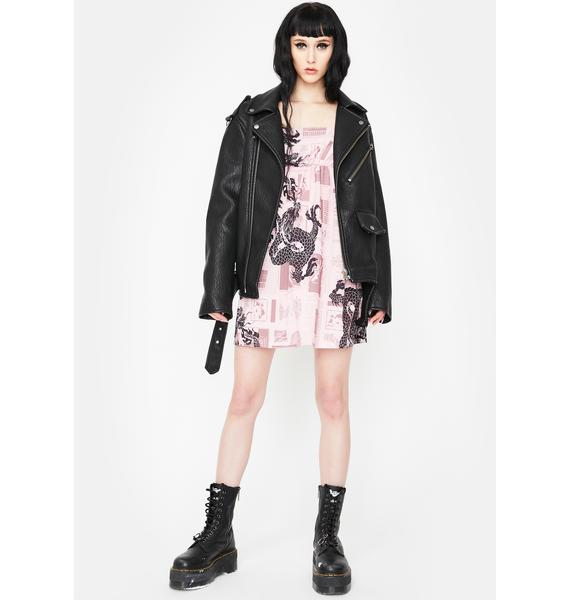 NEW GIRL ORDER Pink Newsprint Mini Dress