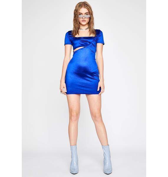 Royal Hot Flash Satin Mini Dress