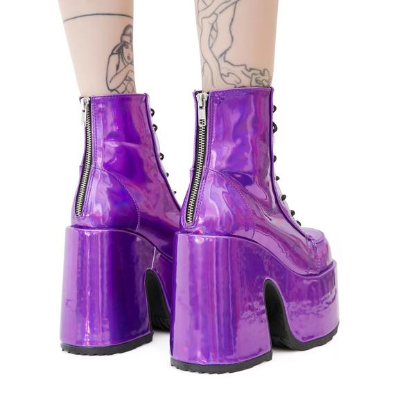 Demonia Rave Royalty Holographic Platform Boots