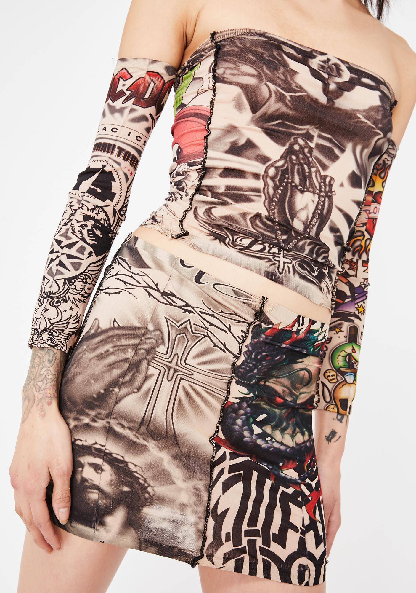 Gypsy Sport Tattoo Stretch Mini Skirt
