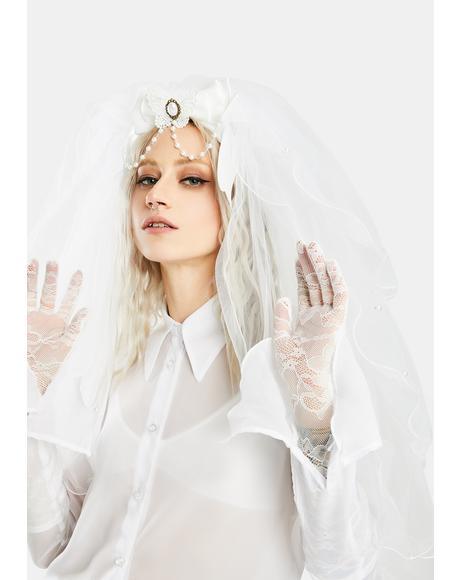 Barely Bride Pearl Chain Veil Headband