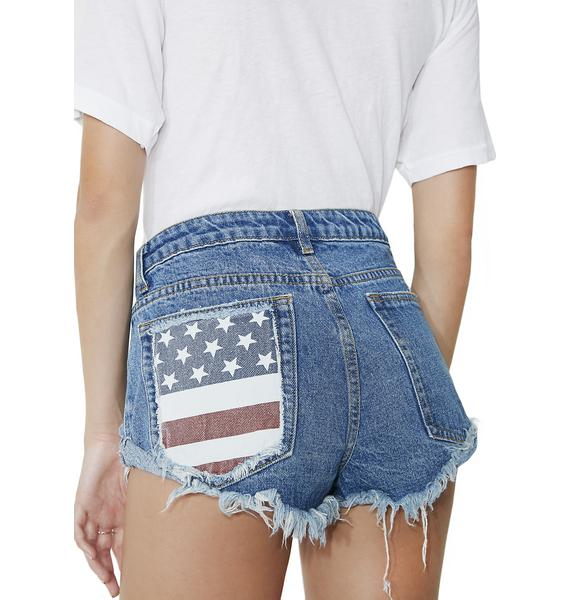 Liberty Belle Distressed Flag Shorts