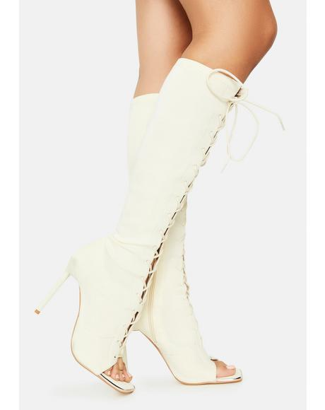 Cream Forever Bond Lace Up Boots