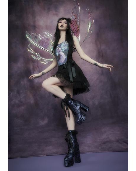 Lilac Lacrimosa Lace Platform Boots