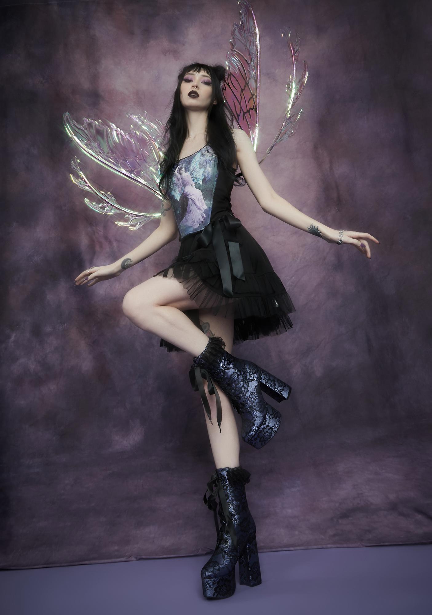 Widow Lilac Lacrimosa Lace Platform Boots