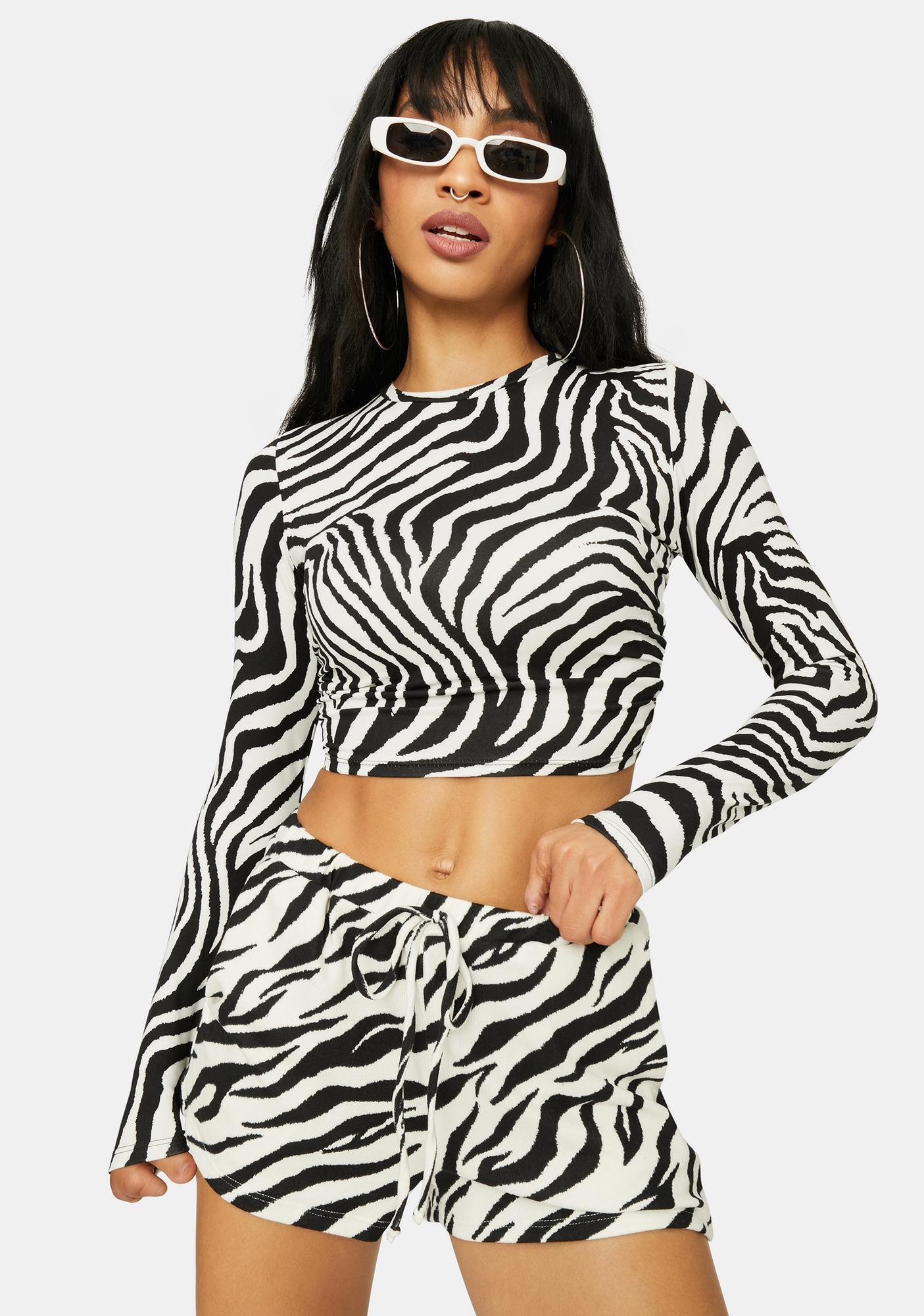 Wild Nerves Zebra Print Crop Top