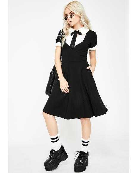 Keyhole Bow Tie Wednesday Dress
