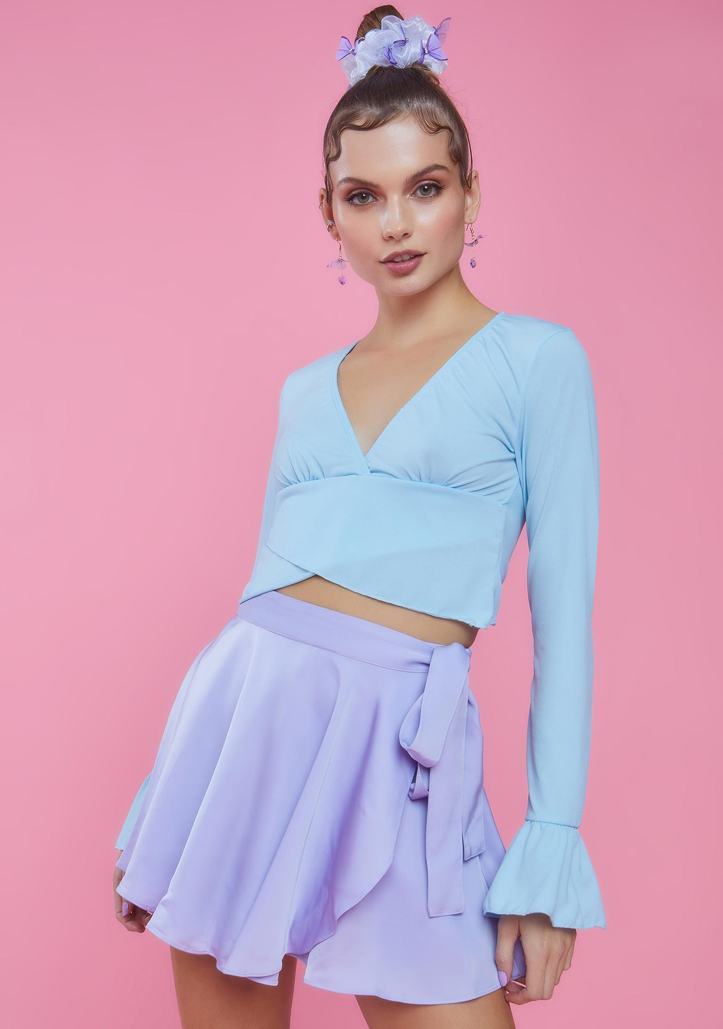 Sugar Thrillz Center Stage Ruffle Long Sleeve Top