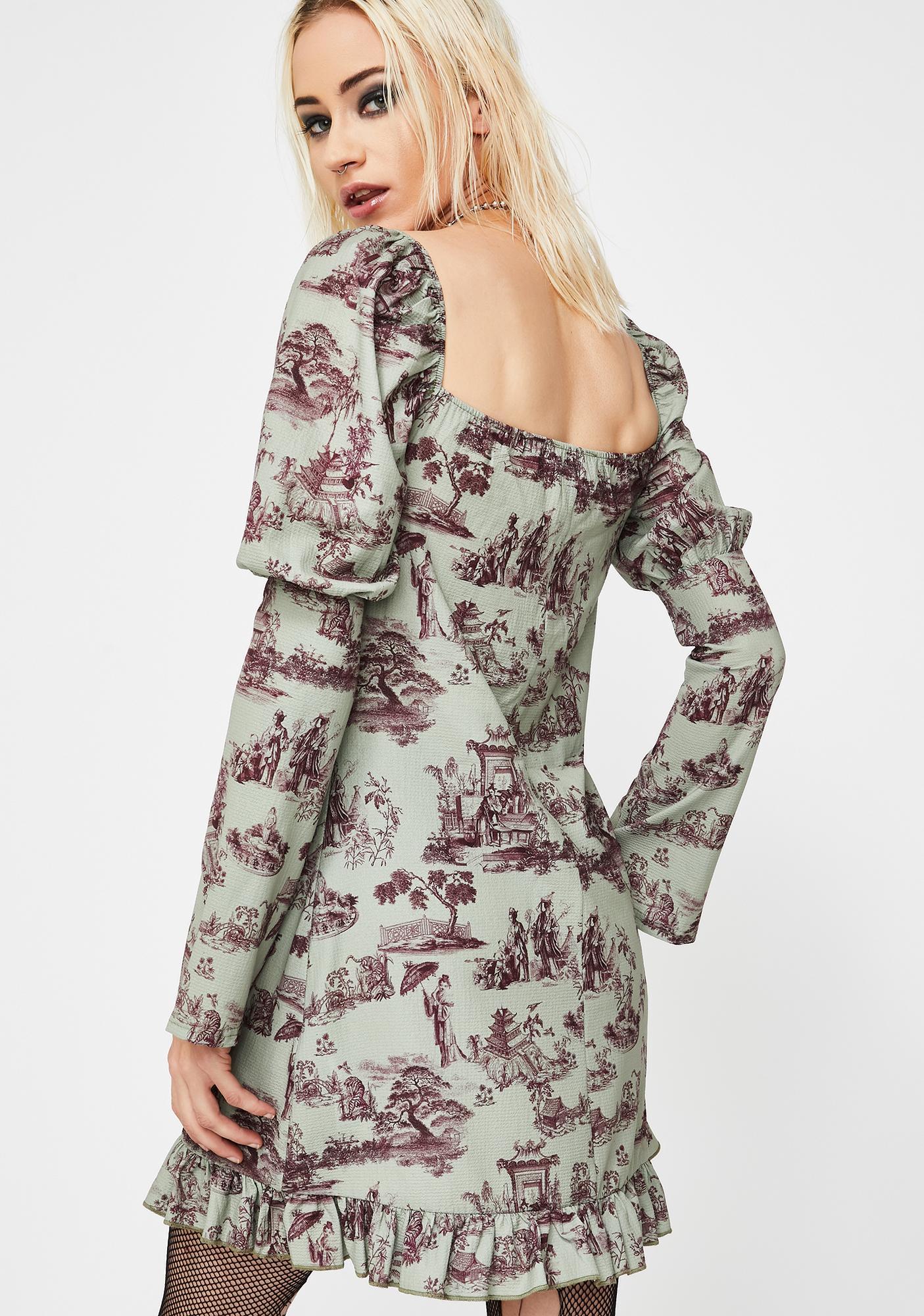 NEW GIRL ORDER Wedgewood Print Puff Sleeve Dress