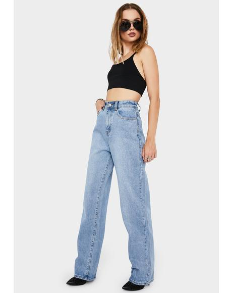 Mid Blue Loose Fit Straight Leg Jeans