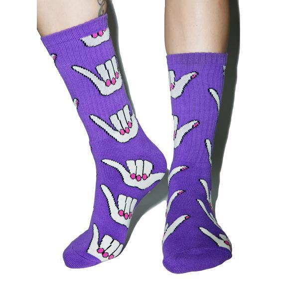 HUF Anne Freeman Purple Shaka Crew Socks