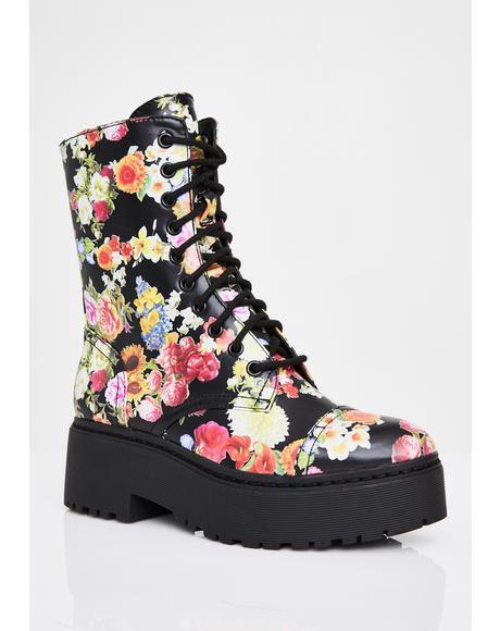 California Poppy Combat Boots