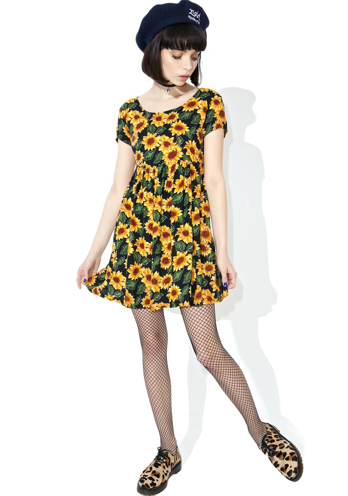 Vintage 90s Sunflower Babydoll Dress