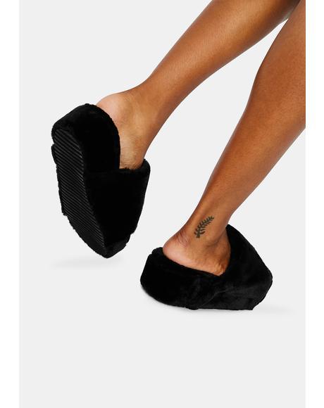 Onyx Always Classy Furry Slides