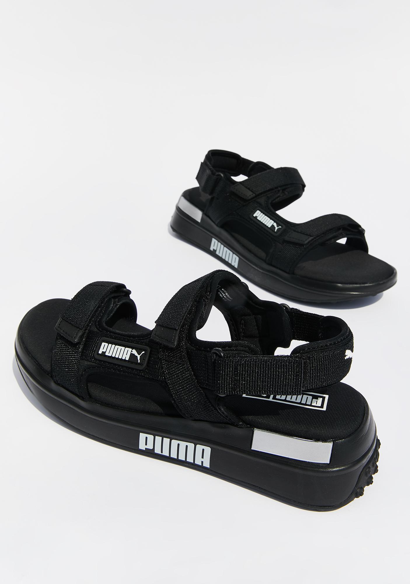 black puma sandals