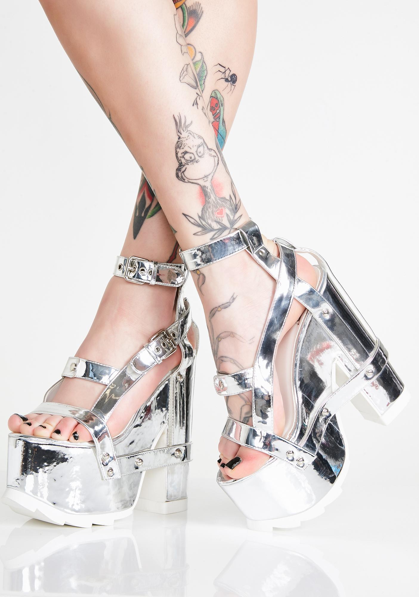 Y.R.U. Nightcall Chrome Platform Heels
