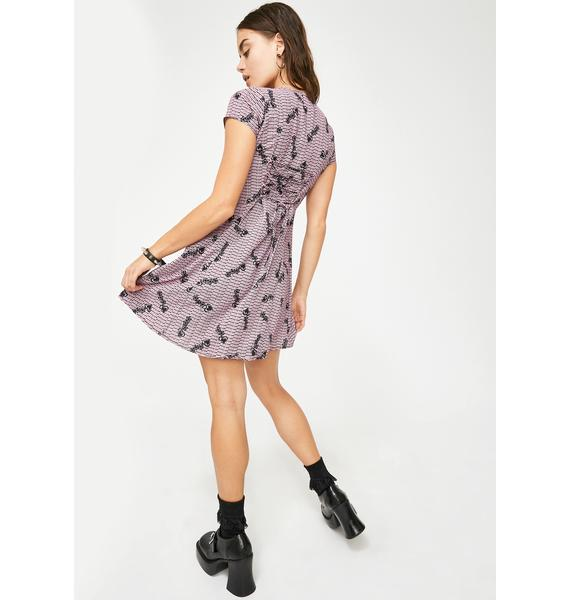 Why Not Us Strawberry Back Ribbon Button Up Dress