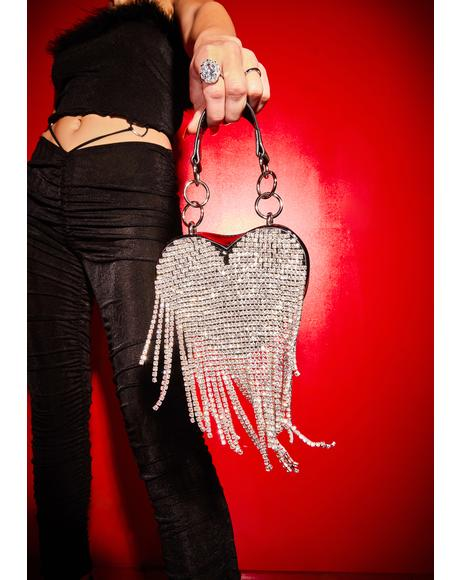 Night Mine All Mine Rhinestone Heart Mini Purse