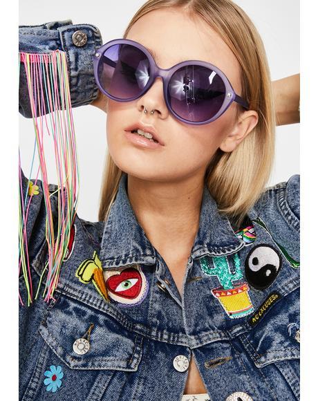Grape Mz. Magoo Circle Sunglasses