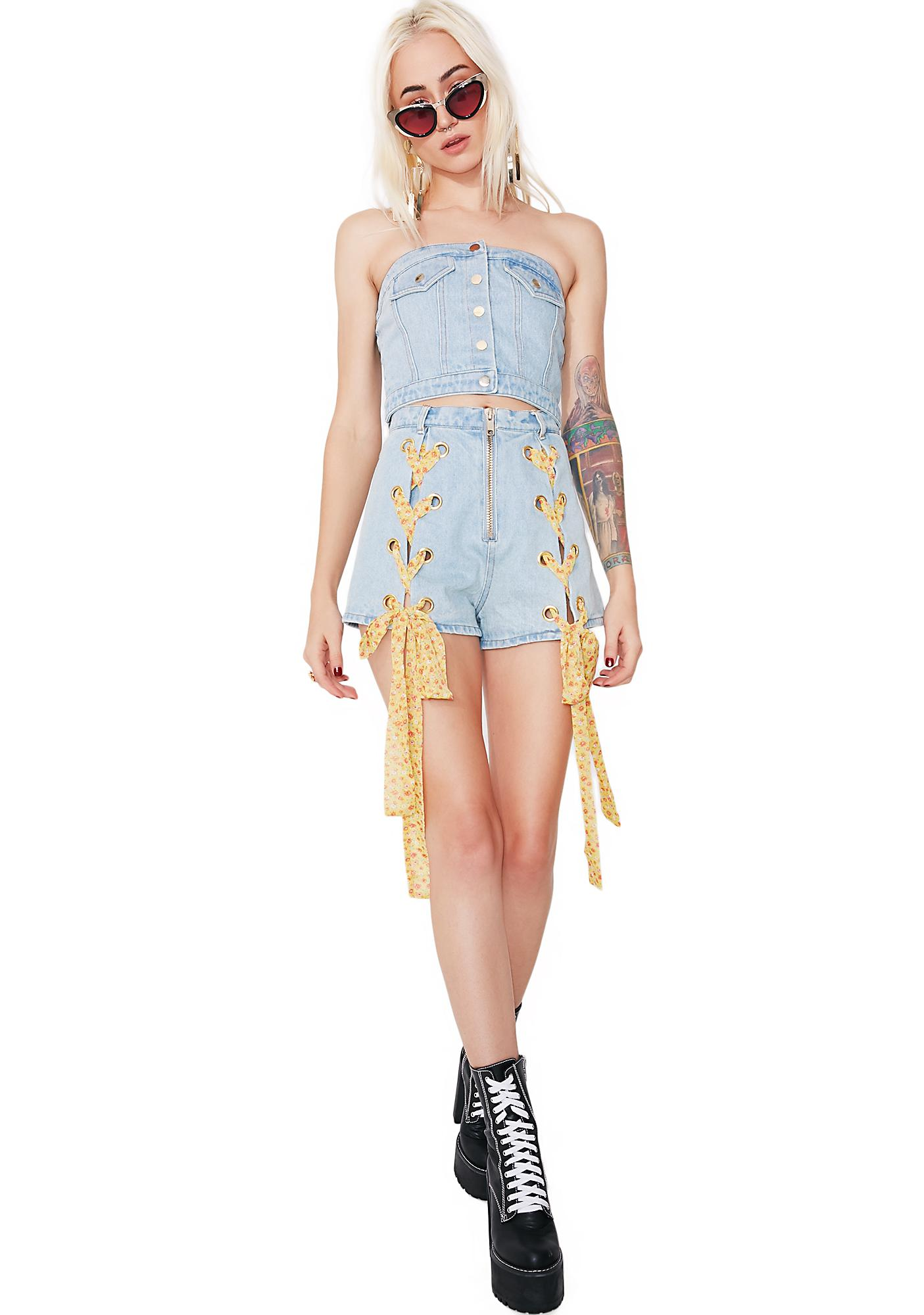 one spo Small Flower Back Spindle Denim Bustier