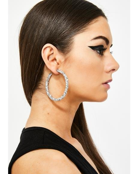 Money Showers Rhinestone Hoops
