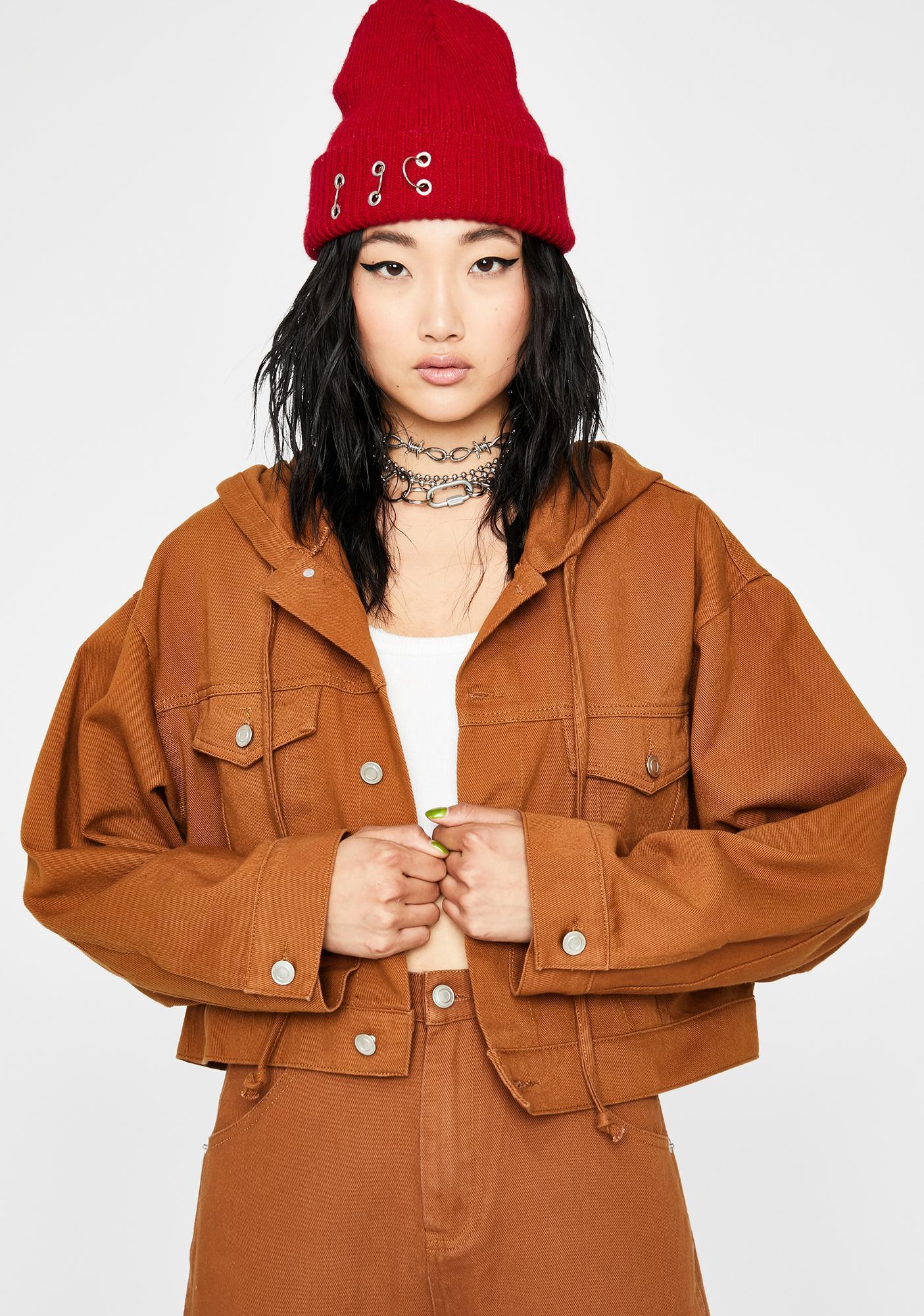 Mocha Hardly Workin' Denim Jacket