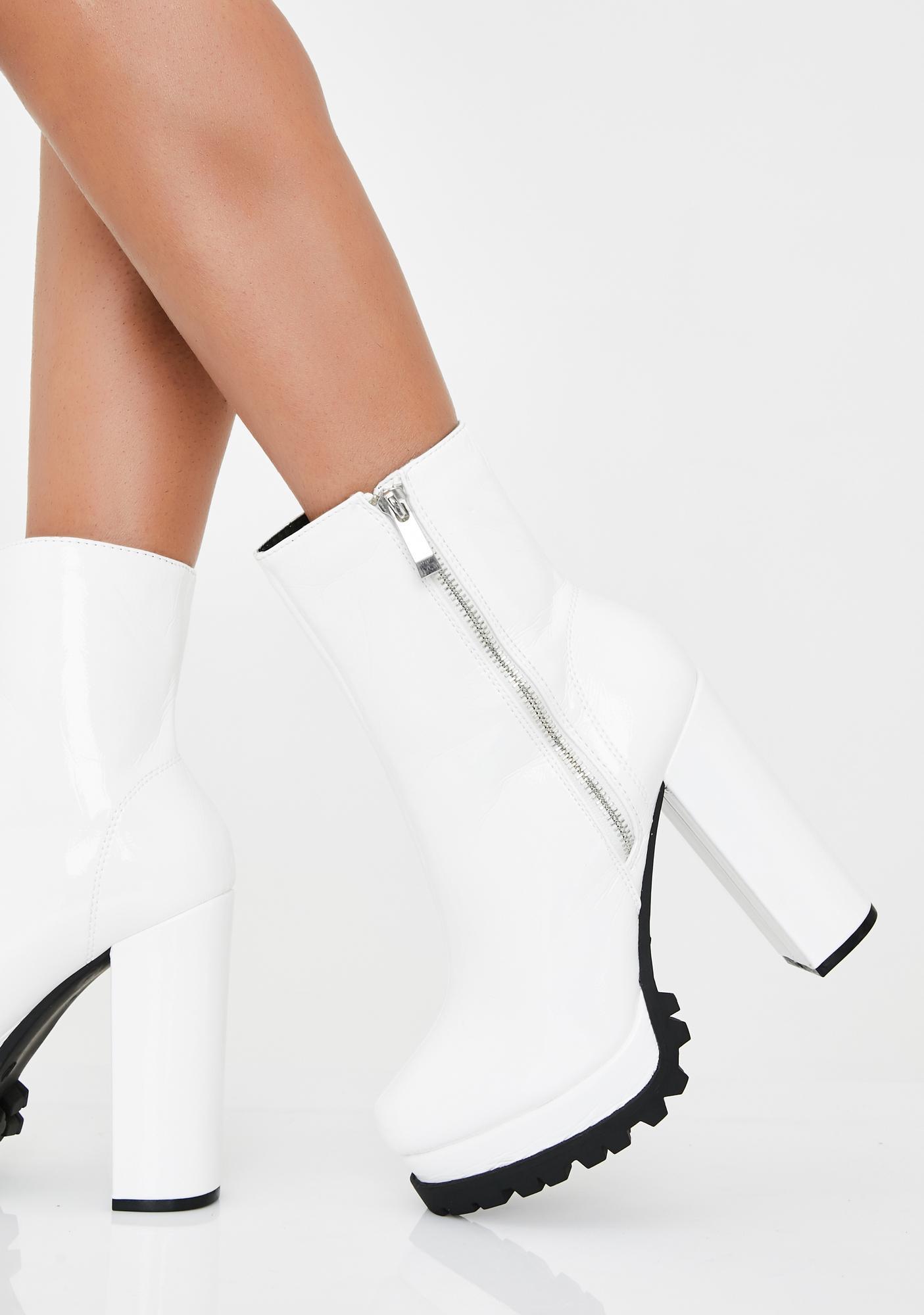 White Platform Boots High Heels | Dolls