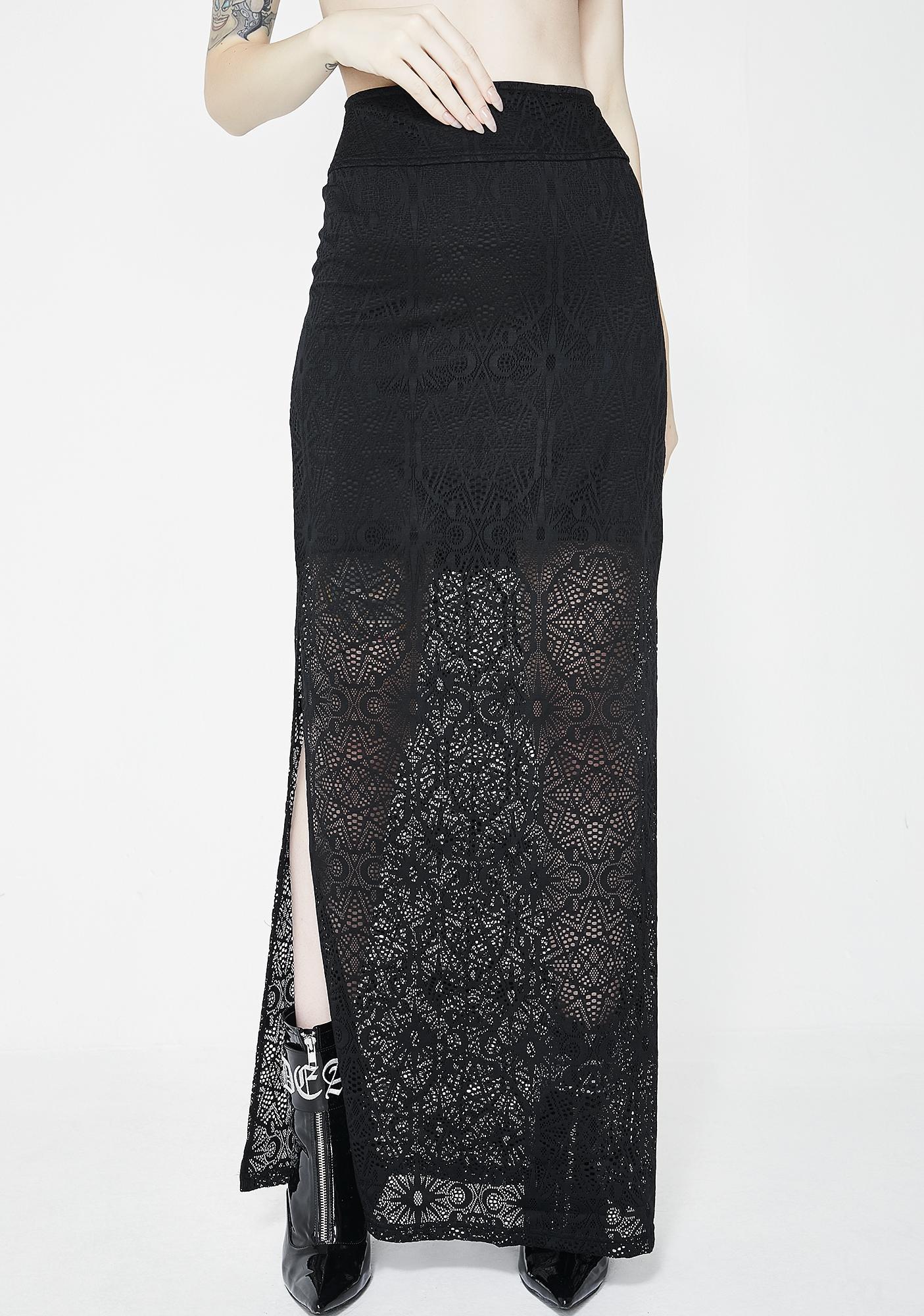 5f008ff36 Black Chiffon Split Maxi Skirt