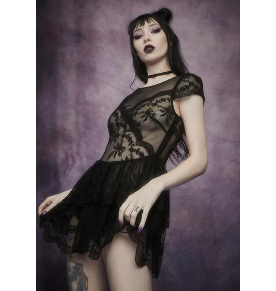 Widow Midnight Twisted Tea Party Lace Dress