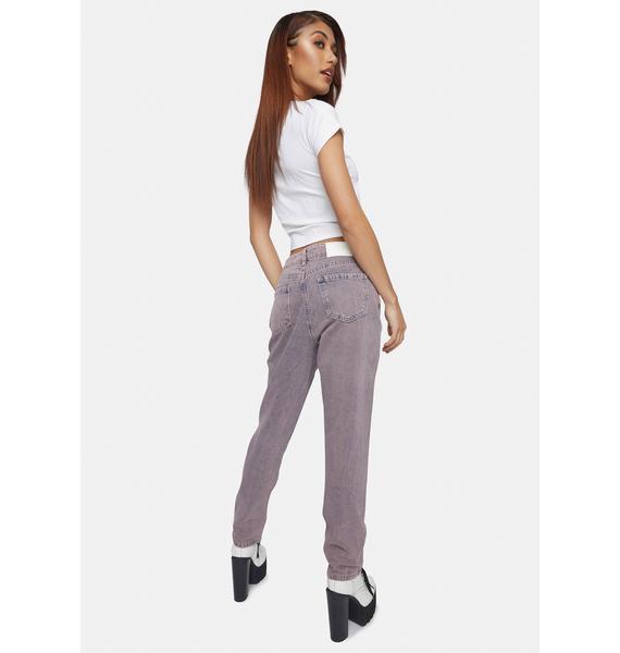 Glamorous Pink Tint High Waist Denim Jeans