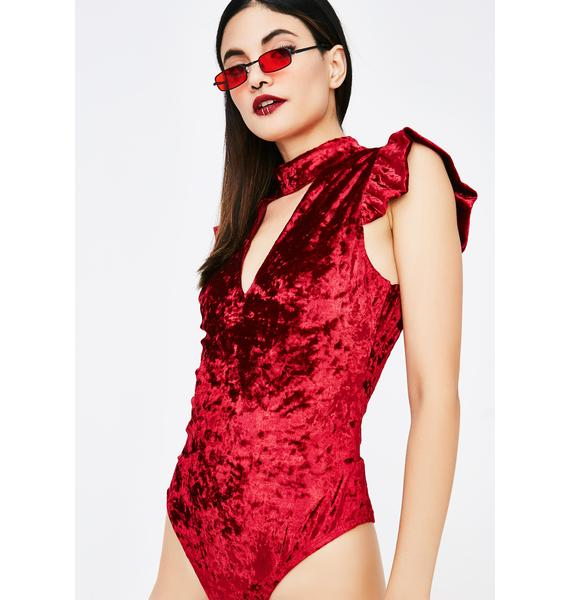 Unfriendly Reminder Velvet Bodysuit