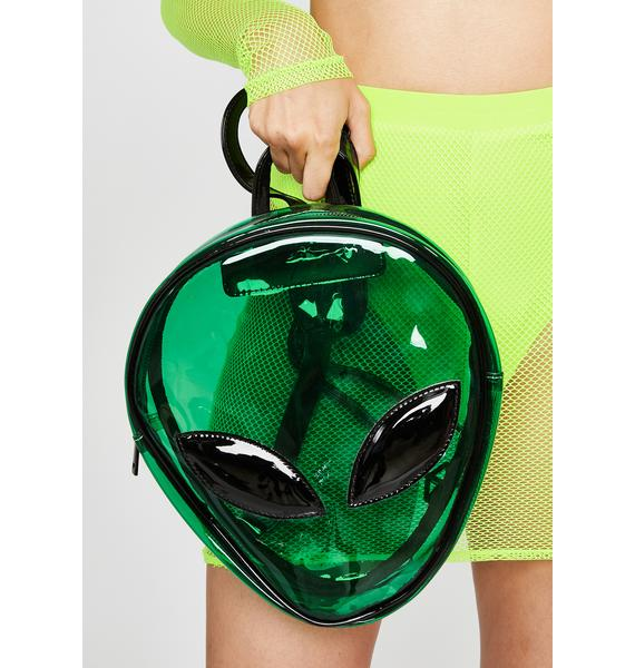 Emerald Alien Invasion Clear Backpack