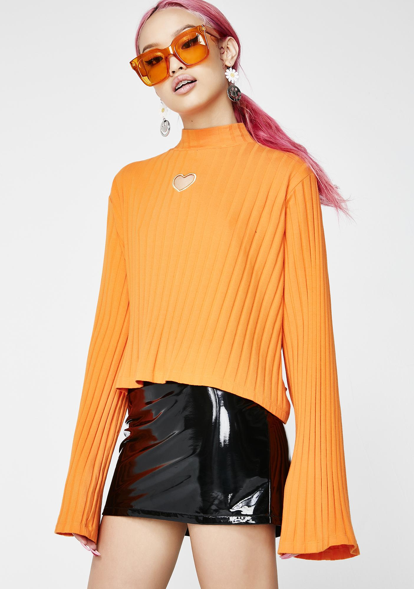 Lazy Oaf Orange Heart All Out Top
