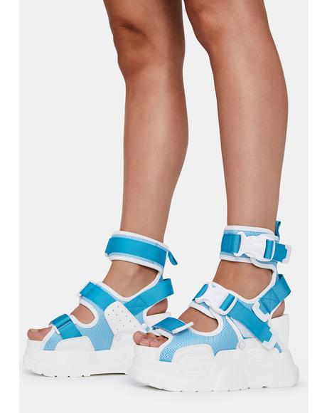 Light Blue Mulberry Platform Sandals