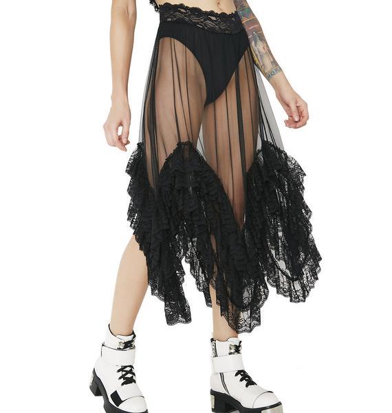 Current Mood Midnight Clementine Sheer Ruffled Skirt
